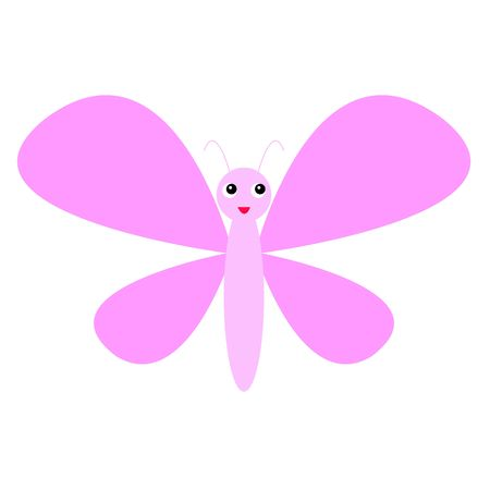 cute pink butterfly flying icon. cartoon style Stock Illustratie
