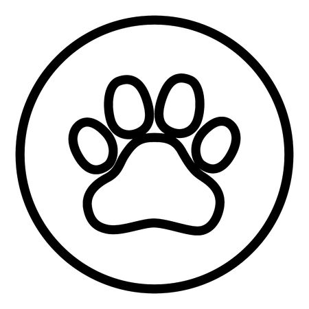 Animal paw print icon vector illustration design isolated on flat round button. Dog. cat