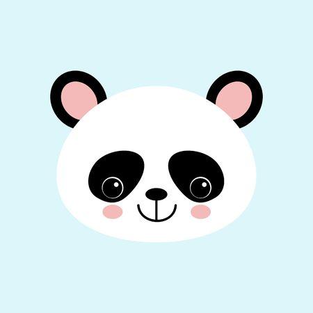 Cute Panda Face Vector Iconon Blue Background. Standard-Bild - 122602636