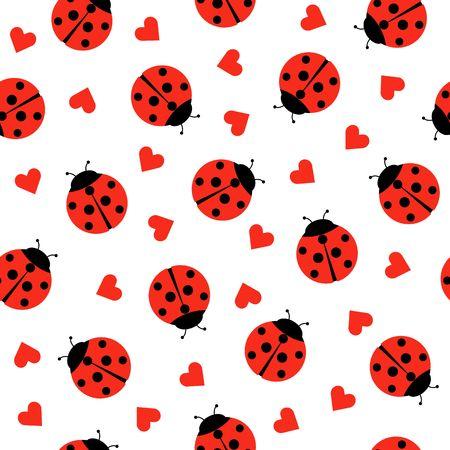 Cute Ladybug e cuori Seamless Pattern Background Vector Illustration