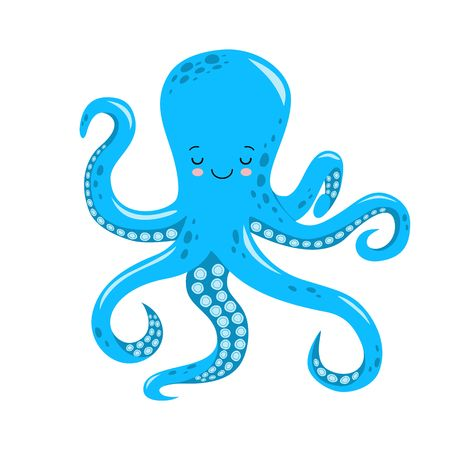 Vector cute octopus illustration isolated on white background.kawaii style 일러스트