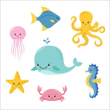 Cute baby sea fishes. Vector cartoon underwater animals collection. Jellyfish and starfish, ocean and sea life illustration. Kawaii style