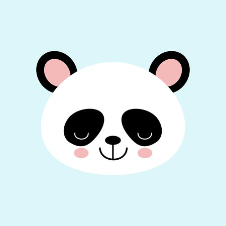 Cute Panda Sleep Face Vector Iconon Blue Background. Kawaii style Standard-Bild - 122602688