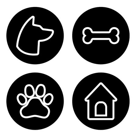 Dog Round Icons Set. Dog head, paw, bone, dog house Vector illustration 일러스트