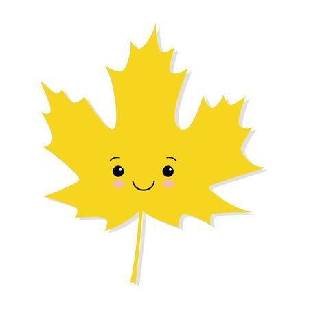 cute yellow autumn maple leaf vector on a white background. kawaii style  イラスト・ベクター素材