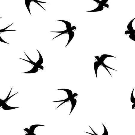 Swallow, swift, birds. Graphic vector pattern. Decorative seamless background Flat style