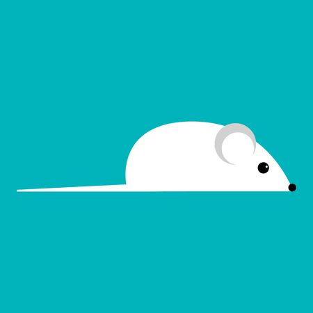 Stylish icon of a white mouse for web and print. Minimalistic symbol of the home of a rodent mouse or rat vector illustration Illustration