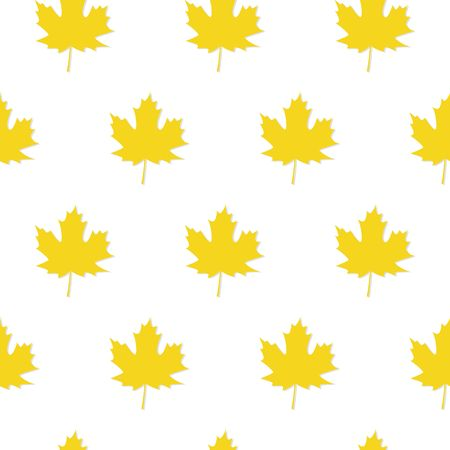 Autumn Set of Yellow Maple Leaves on White Background, Vector Version