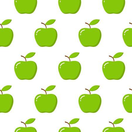 Ilustración de patrón transparente de vector con manzanas sobre fondo blanco.