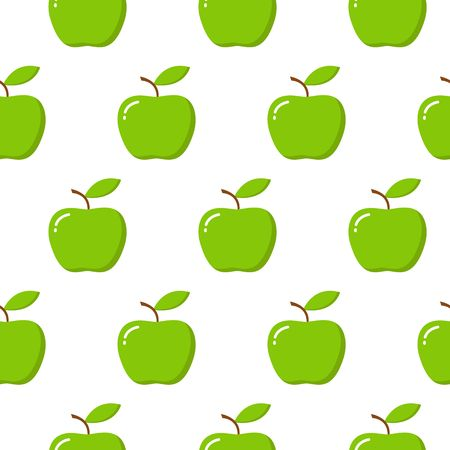 Vector seamless pattern illustration with apples on white background.