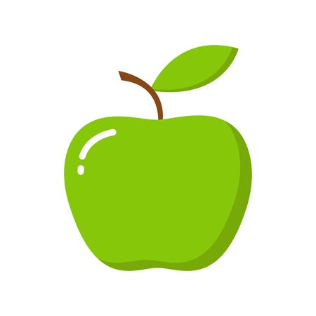 Green apple with leaf isolated on white background. Vector illustration. Cartoon style