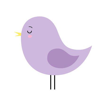 Little cute purple spring bird design. Cartoon character. Kawaii style