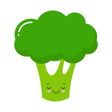 Broccoli icon. Green color. Vegetable collection. Fresh farm healthy food. Smiling face. Cute cartoon character. Education card for kids. Flat design. White background. Isolated. Vector illustration Ilustração