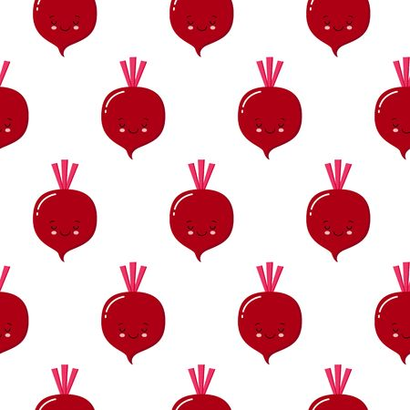 cute kawaii purple vegetable beet, beetroot with smiling face, eyes seamless vectot pattern on white background