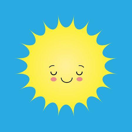 Funny sun icon illustration isolated on blue background. Flat style. Ilustração