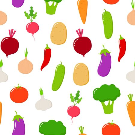 Organic food seamless pattern.Vector fruit and vegetables on a white background. Flat style