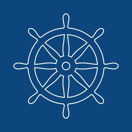 Nautischer Helm. Schiffs- und Bootslenkradzeichen. Steuersymbol für das Bootsrad. Ruder-Label.