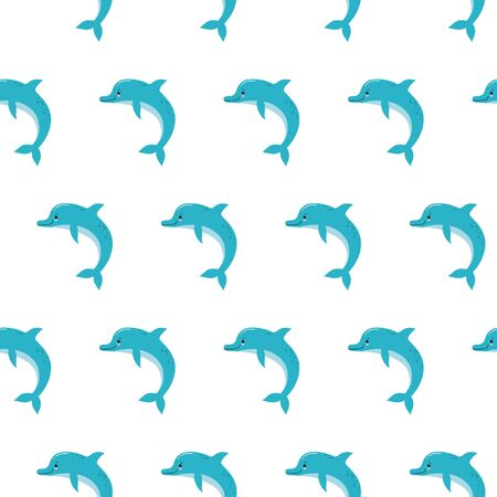 Cute dolphins seamless pattern background, summer print for textile and card design. Kawaii illustration