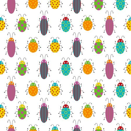 Seamless pattern with colorful bugs. Bright vector drawing of small beetles.