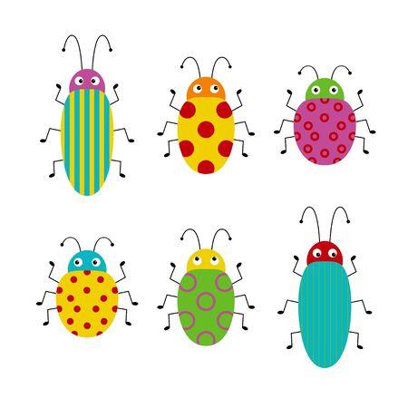 Conjunto de vector de insectos de dibujos animados lindo. Diferentes escarabajos sobre un fondo aislado.