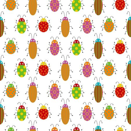 Seamless pattern with cute colorful bugs. Bright vector drawing of small beetles. Cartoon funny illustration