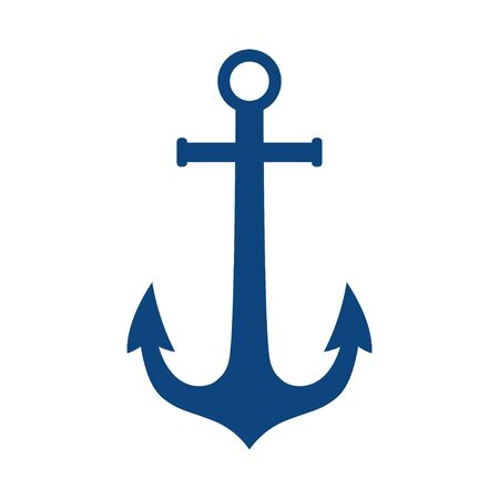 Anchor vector logo blue icon Nautical maritime sea ocean boat illustration symbol