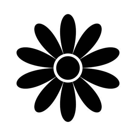 siluetta piana delle icone del fiore isolata su bianco. Simpatico design retrò.