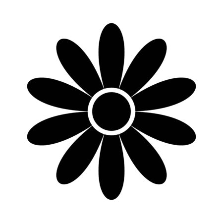 flat flower icons silhouette isolated on white. Cute retro design. Illustration
