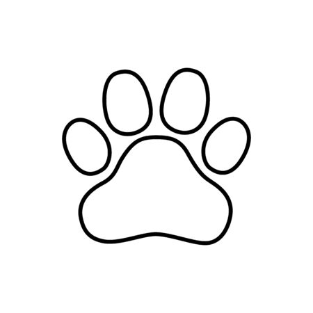 Paw line icon, outline vector sign, linear style pictogram isolated on white.