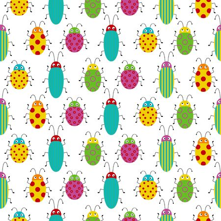 Seamless pattern with cute colorful bugs. Bright vector drawing of small beetles.