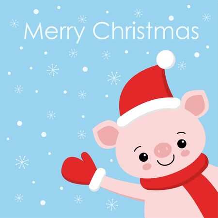 Happy New Year Pig piggy piglet face head. Snow flake falling down. Cute cartoon funny character. Flat design. Blue background. Isolated. 向量圖像