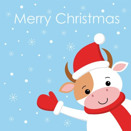 Merry Christmas Funny cute cow on background snow. Card in cartoon style. Yfhhe New Year. Kawaii illustration Фото со стока - 129133822
