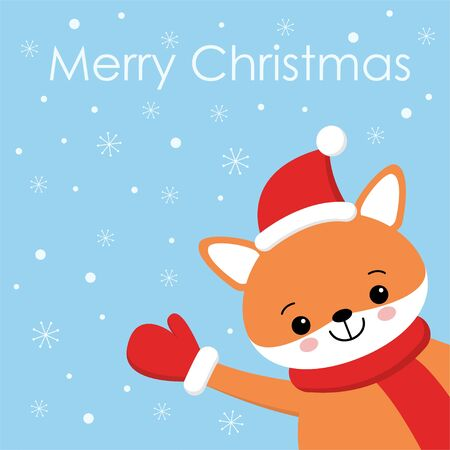 Vector holiday illustration of a cute fox in a hat. Merry Christmas and happy New Year . Christmas background with smiling cartoon character. Ilustrace