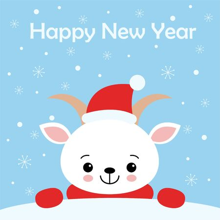 Merry Christmas and Happy New Year greeting card. Cute vector Illustration. Sweet white Goat scarf and Santa hat. Kawaii style Çizim