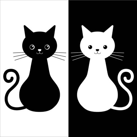 Vector illustration of couple cats black and white colors. Love story cats Ilustracja