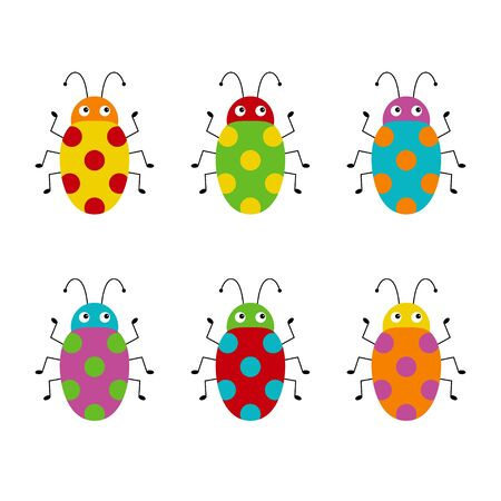Vector set of cute cartoon insects. Different beetles on an isolated white background. Funny illustration for children Ilustração