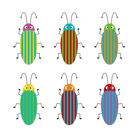 Vector set of cute cartoon insects. Different beetles on an isolated background. Funny illustration