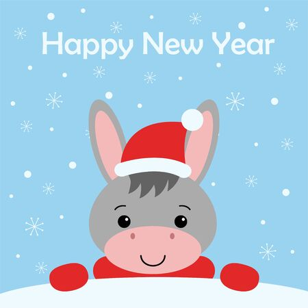 Merry Christmas and Happy New year Funny cute donkey in red hat in cartoon style. Greeting card. Kawaii illustration