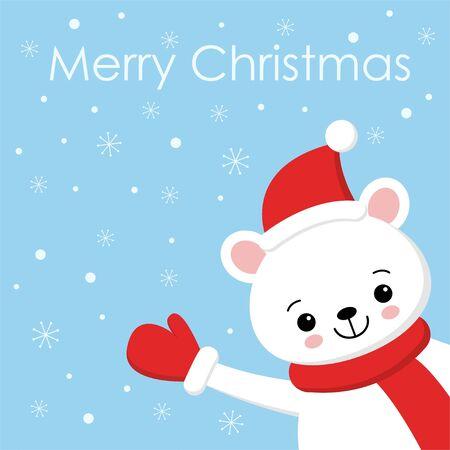Polar bear cartoon character. A Cute Polar bear wearing Santa Claus hat Vector illustration for Merry Christmas and Happy New Year invitation card.