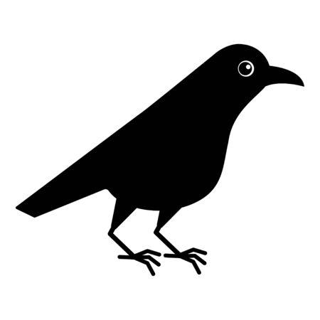 Cute raven bird. Cartoon crow. Kawaii vector illustration on white background. Ilustracja