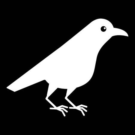 White raven. Crow bird isolated on a black background. Standard-Bild - 129133997
