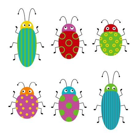 Funny cute bug set. Collection happy cartoon insects. Colorful illustration.