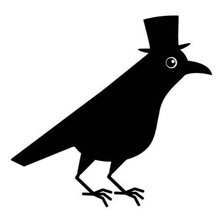 Gentleman crow, blackbird with top hat. Cute raven illustration on white blackground.