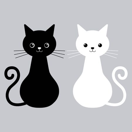 Vector illustration of couple cute cats black and white colors. Love story cats Stock Illustratie