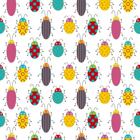 Seamless pattern with colorful bugs. Bright vector drawing of small beetles. Insect on the white background. Cartoon bug wallpaper.  イラスト・ベクター素材