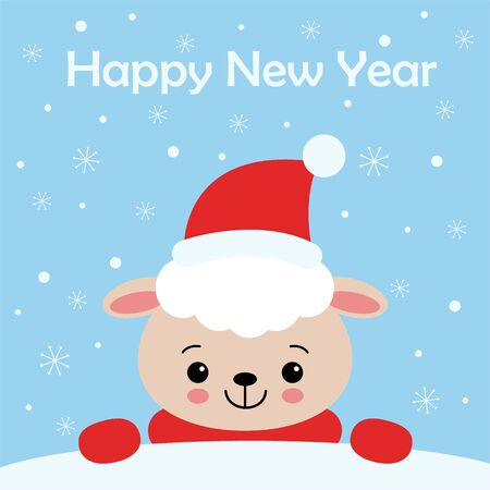 Merry Christmas and Happy New Year card design. Funny cute sheep character in santa hat on winter illustration, snow on light blue background. Kawaii style