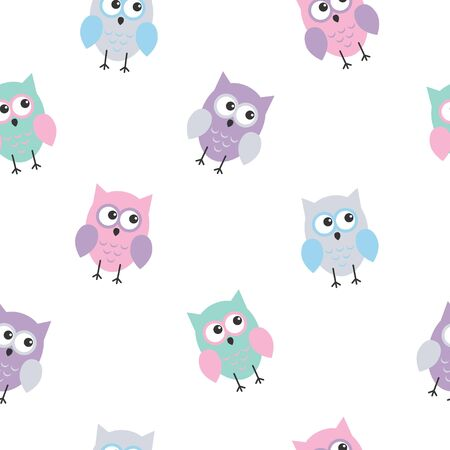 Seamless colorful cute owl background pattern for kids in vector. Kawaii style