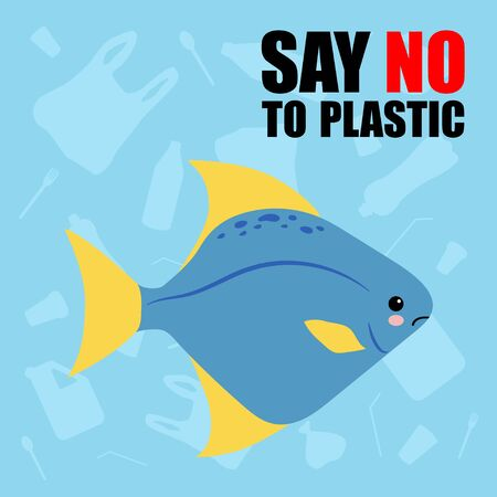 No to plastic. Stop ocean plastic pollution. Recycling plastic. Ecological problem and catastrophe. Say no to plastic. Creative vector template poster, banner, flyer, social advertisement, copy space