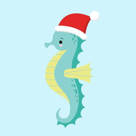 Cute and funny blue seahorse wearing Santa s hat for Christmas and smiling - vector. Kawaii illustration