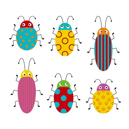Vector set of cute cartoon insects. Different beetles on an isolated background. Illustration for children Фото со стока - 130774361
